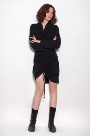 Μαύρο φόρεμα βαμβακερό σούρα